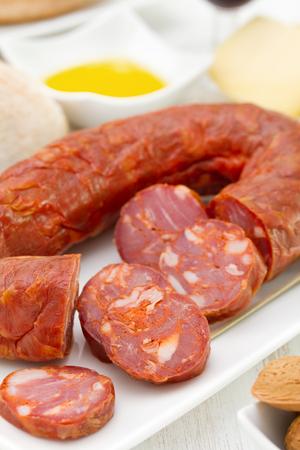sausages with bread and olive oil photo