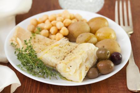 potato cod: cod fish with chickpea and potato Stock Photo