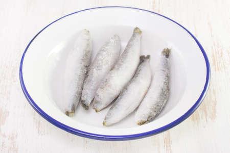 sardinas: sardinas congeladas en un plato blanco sobre fondo blanco