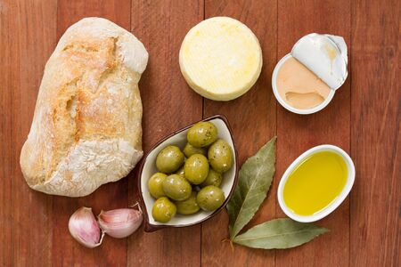 pate: bread with olives, pate and olive oil Stock Photo