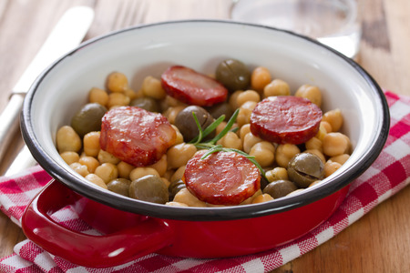 chick pea: chick pea with smoked sausages on dish
