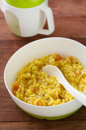 baby rice: baby food rice with vegetables and rice