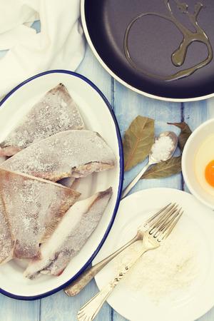 frozen fish: frozen fish with egg, powder