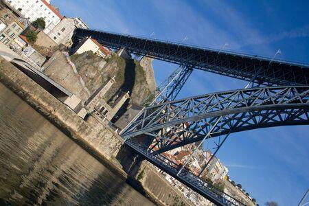 dom: View on bridge Dom Luis in Porto, Portugal