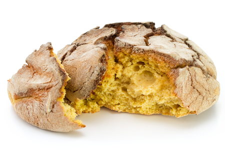 corn bread on white background isolated