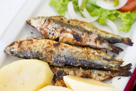 sardinas: sardinas a la plancha con patatas y ensalada en un plato blanco