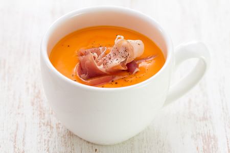 andalusian cuisine: cold summer spanish soup in white cup