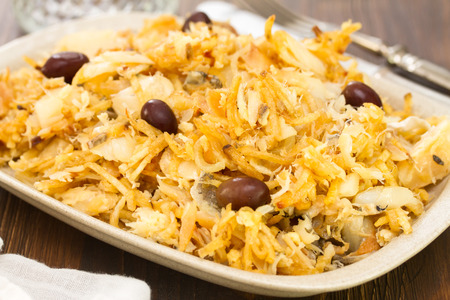 typical Portuguese dish bacalhau a bras Stock Photo