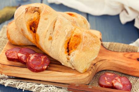 bread with smoked sausage Stock Photo