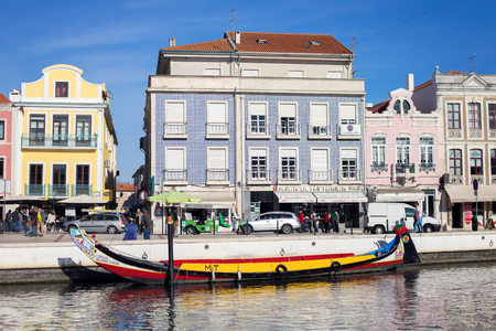 AVEIRO, PORTUGAL - NOVEMBER 21, 2017: boat in chanal