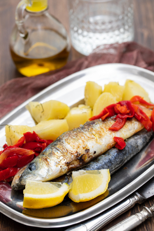 fried sardines with potato and pepper