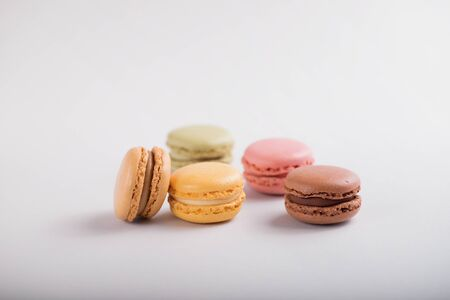 delicious colorful macaroons on gray background 写真素材