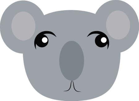 Cute cartoon little coala head