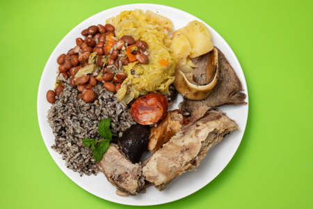 typical portuguese dish boiled meat, smoked sausages and vegetables
