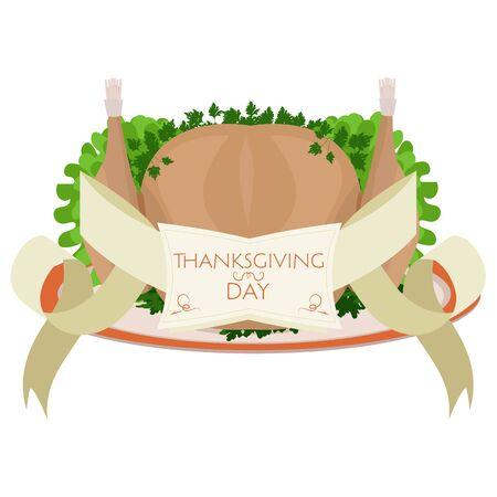 roast turkey: Vector roast turkey for Thanksgiving with decorative frame