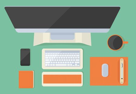 office desktop: Modern flat office desktop with gadgets and cup Illustration