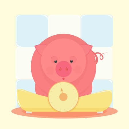 piglet: Piglet standing on the scales and was surprised to look at your weight