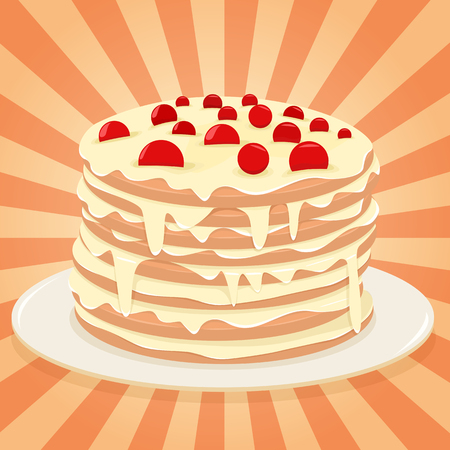 baking dish: Layered cake with cherry on a plate