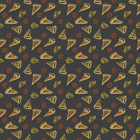 ham and cheese: Seamless color pattern Pepperoni pizza with cheese and ham