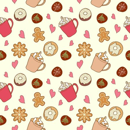 gingerbreadman: Seamless pattern of coffee and sweets. Donuts, cookies, gingerbread man Illustration