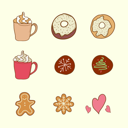 gingerbreadman: Set of coffee, cookies and donuts in the style of sketch