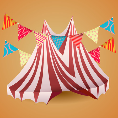 arena: Striped circus tent arena with varicolored flags