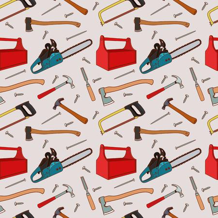 carpentry cartoon: Seamless pattern a set woodworking tools pattern