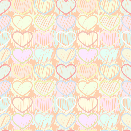 crossed out: Seamless colorful hearts with decorative crossed out by hand