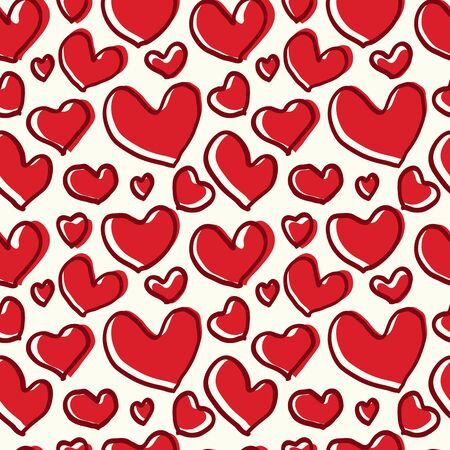 romanticist: Seamless pattern of red hearts with a thick line of the hand