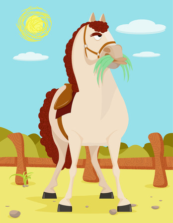 Horse in the Wild West in a modern style illustration