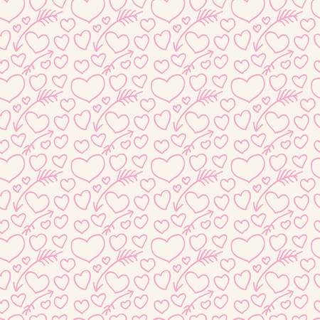 romanticist: Seamless pattern of hearts and arrows painted on hands