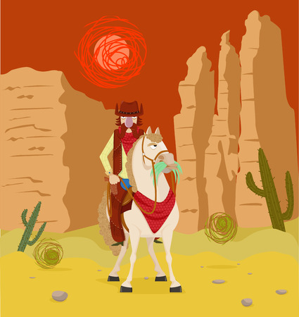 shootout: Wild West Cowboy on horseback in the desert