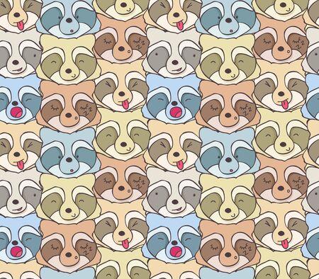 animaux du zoo: Seamless des ratons laveurs drôles avec des émotions différentes