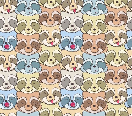Seamless pattern of funny raccoons with different emotions Illustration