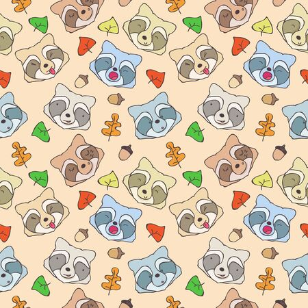 raccoons: Seamless pattern of cartoon forest raccoons with different emotions Illustration