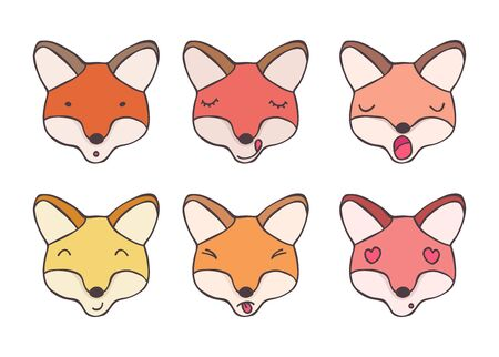 smileys: Set nice smileys foxes with different emotions Illustration