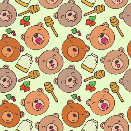 anger kid: Seamless pattern of cartoon forest bears with different emotions Illustration