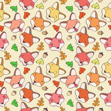 resentment: Seamless pattern of cartoon forest foxes with different emotions
