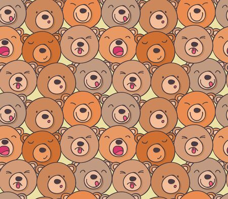 resentment: Seamless pattern of funny bears with different emotions funny Illustration