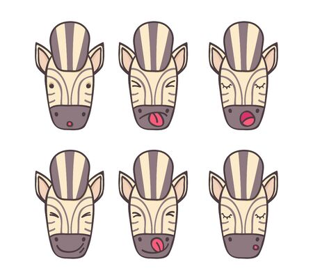 smileys: Smileys set of cheerful zebra with different emotions Illustration