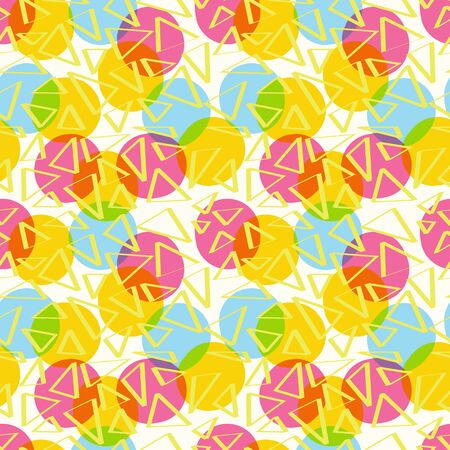 cmyk abstract: Seamless pattern abstract color with circles and triangles of CMYK Illustration