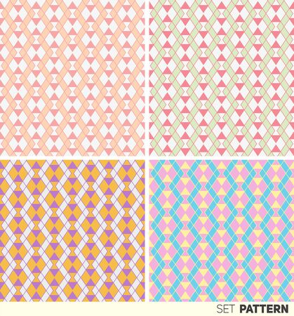 pastel shades: Set of seamless patterns geometric abstraction in pastel shades
