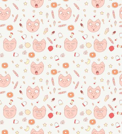 Pattern of little piglets. Illustration