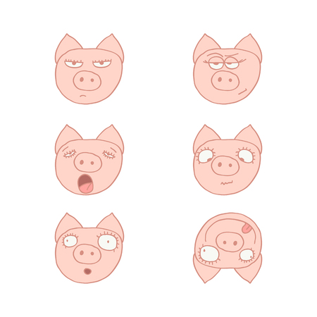 resentment: Faces of pigs. Illustration