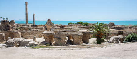 Archaeological excavations. A view of the ancient marble columns in Carthage and the Mediterranean. Tunisia.
