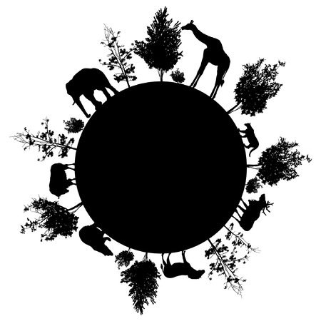 Silhouette of trees and wild animals walking around the world
