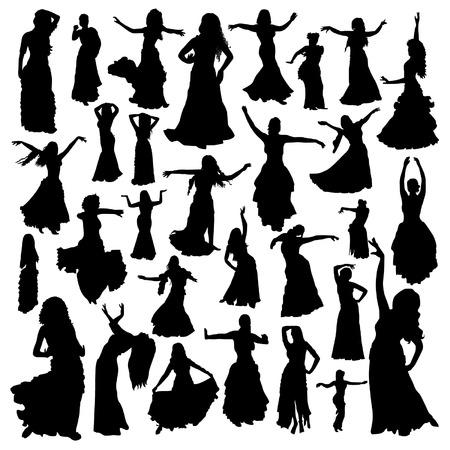 silhouette femme: danseuses du ventre fixés