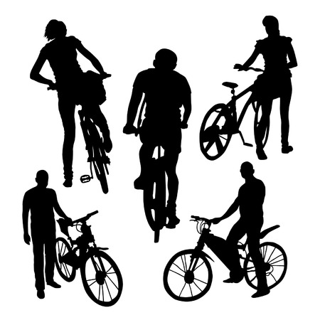 bicyclists: Bicyclists Silhouettes Set
