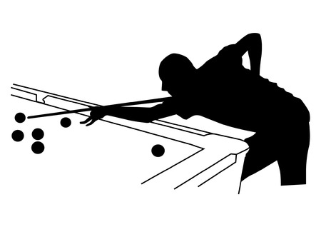 game of pool: Man playing billiards silhouette