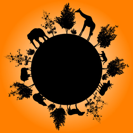 Silhouette of trees and wild animals walking around the world Vector
